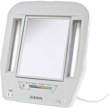 Jerdon Euro Tabletop 2 Sided Lighted Makeup Mirror With 5x