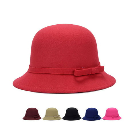 Fashion Women Wool Church Cloche Flapper Hat Lady Bucket Winter Flower Cap US](Camel Hat)