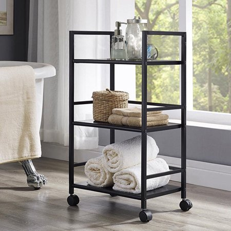 UBesGoo Heavy Duty 3-Tier Rolling Adjustable Cart Organization Bedroom Bath Cart Black