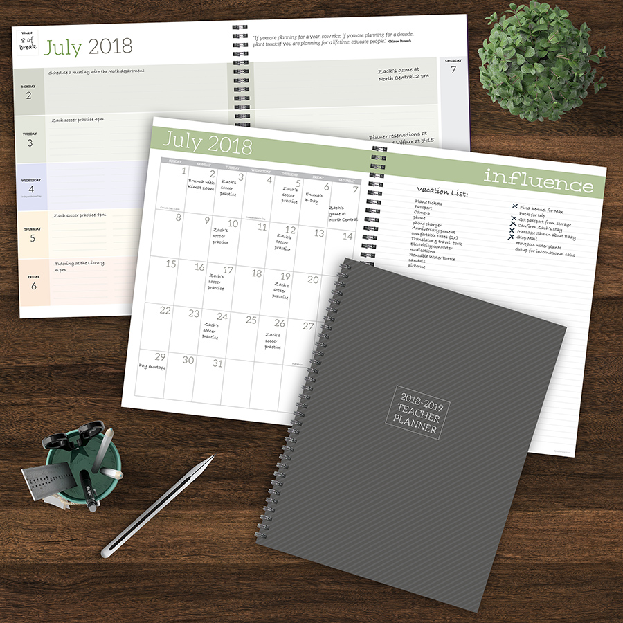 """2019 Teacher Planner July 2018 June 2019 Academic Year 11""""x9"""" Weekly Monthly Planner by TF Publishing"""
