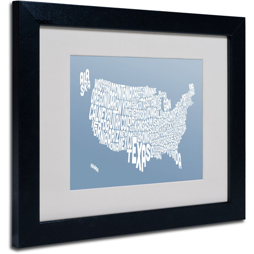 "Trademark Fine Art ""STEEL-USA States Text Map"" Matted Framed by Michael Tompsett"