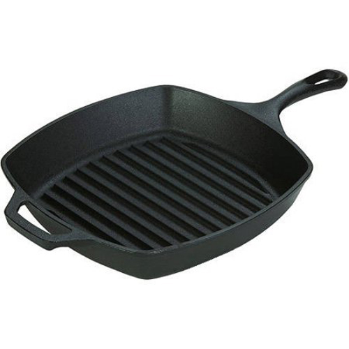 "Lodge Logic 10.5"" Cast Iron Seasoned Grill Pan, L8SGP3"