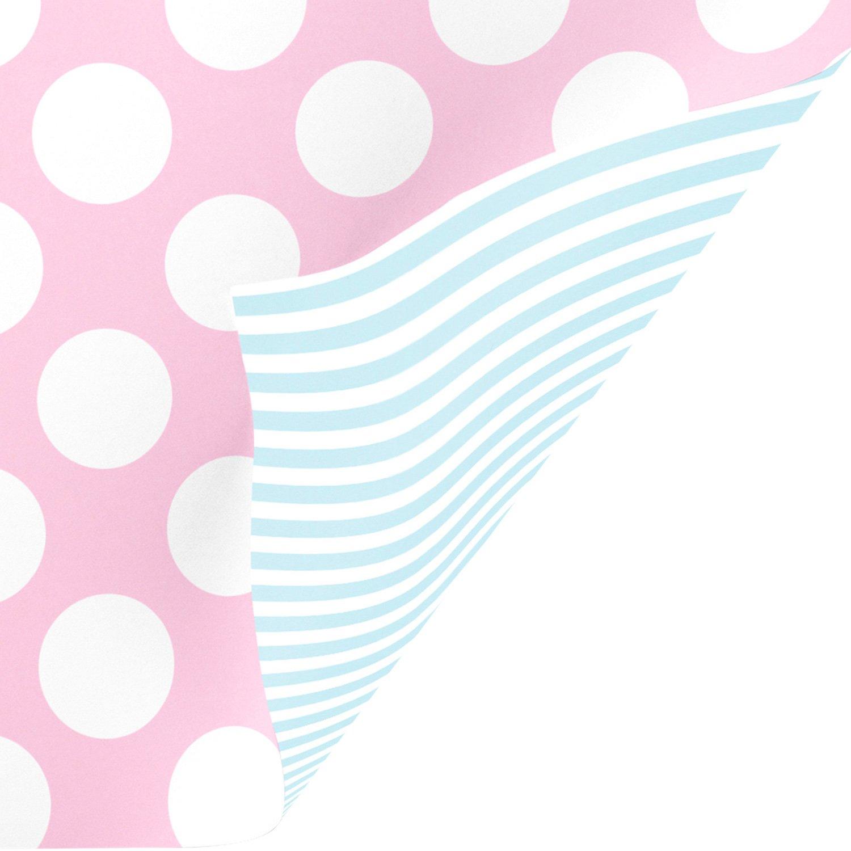 "Jillson & Roberts Gift Wrap, Two-Sided Pastel Pink/Blue, 5' x 30"" Rolls (8 Pcs)"