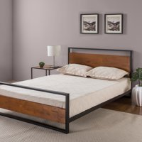 Zinus Suzanne Metal and Wood Platform Bed with Headboard and Footboard, Multiple Sizes