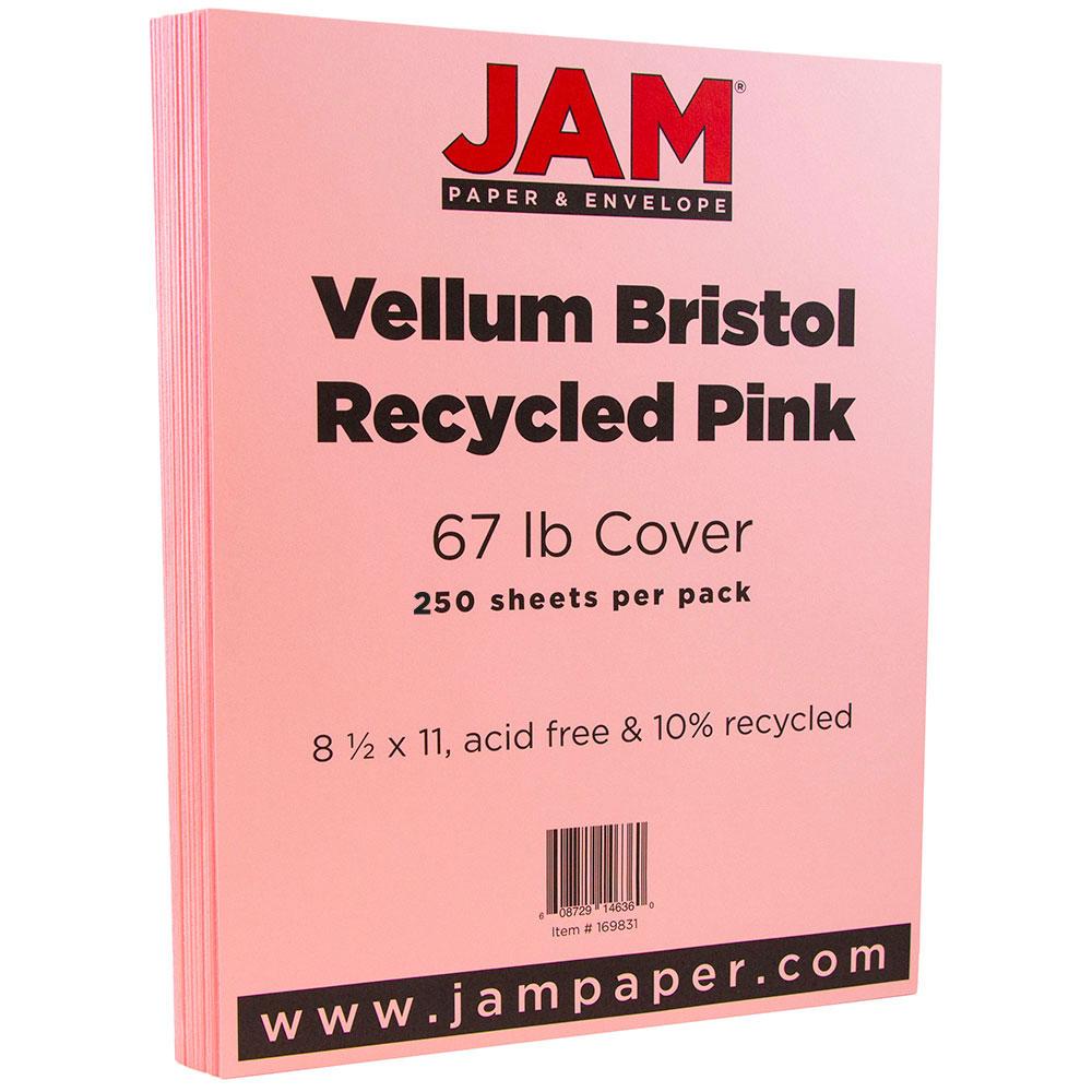 JAM Paper Vellum Bristol Cardstock, 8.5 x 11, 67 lb Light Pink, 250 Sheets/Pack