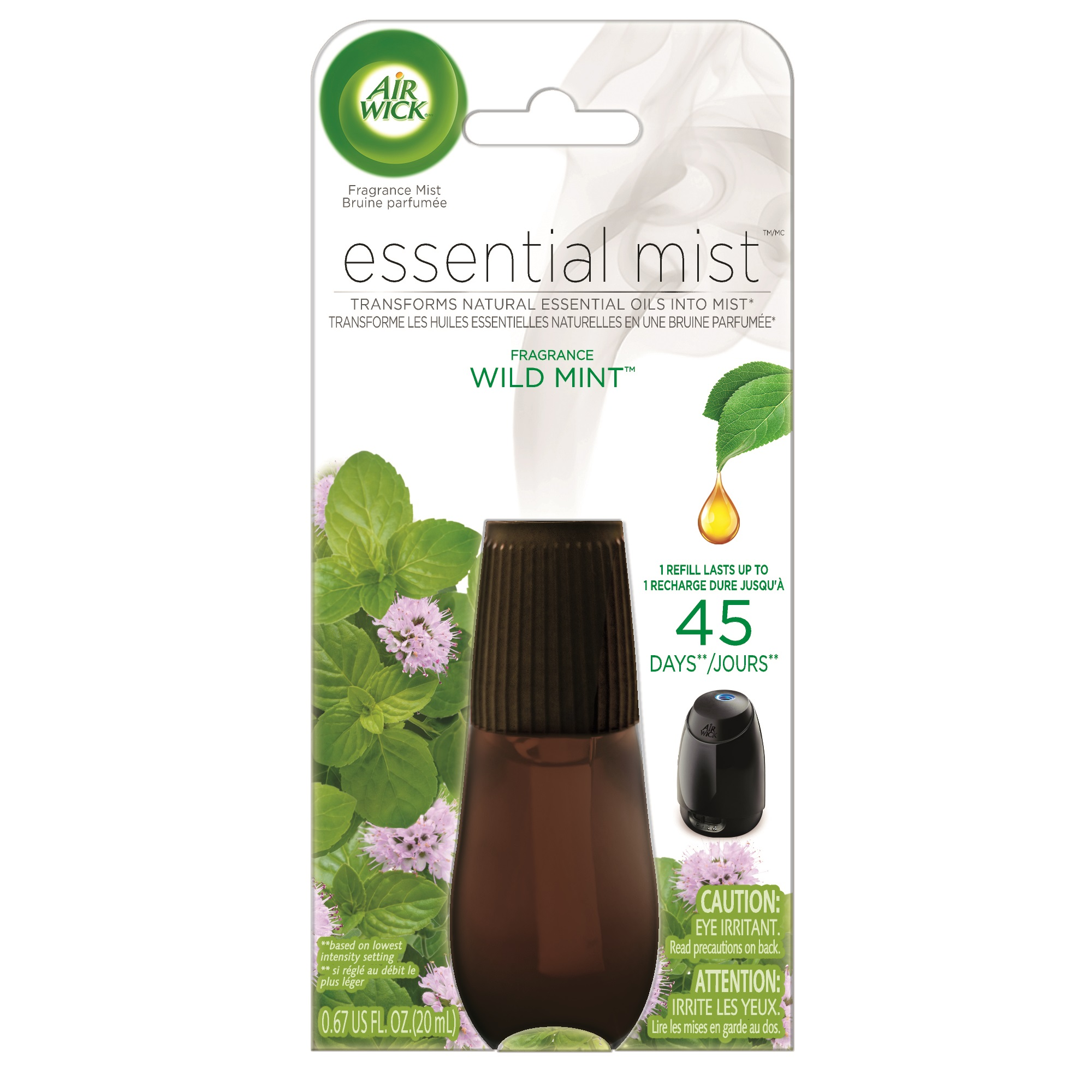 Air Wick Essential Mist Fragrance Oil Diffuser Refill, Wild Mint, Air Freshener