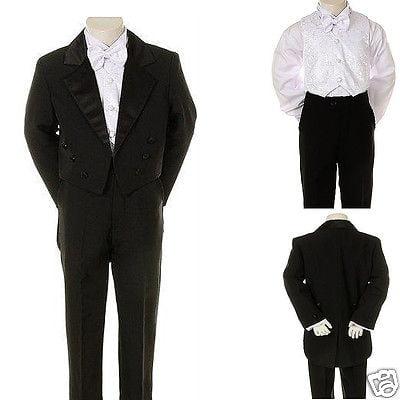 New Infant Toddler /& Boy Wedding Graduation Formal Tuxedo Tail Suit Black S-20