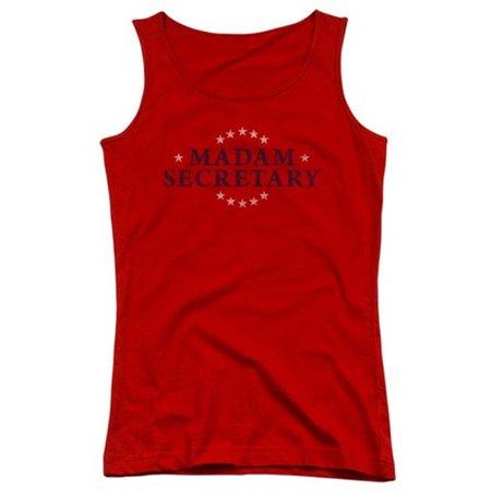 Trevco Madam Secretary Distress Logo   Juniors Tank Top   Red  Small