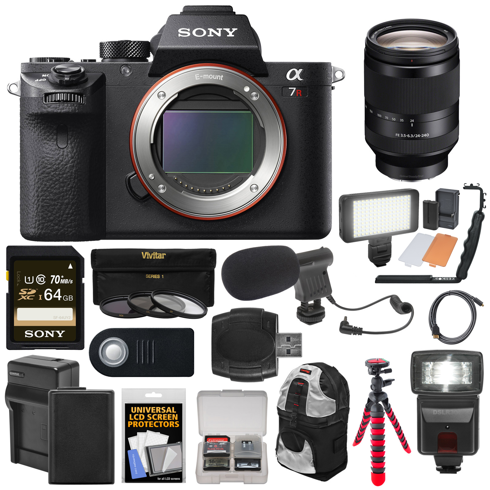 Sony Alpha A7R II 4K Wi-Fi Digital Camera Body with 24-240mm Lens + 64GB Card + Battery + Charger + Backpack +... by Sony