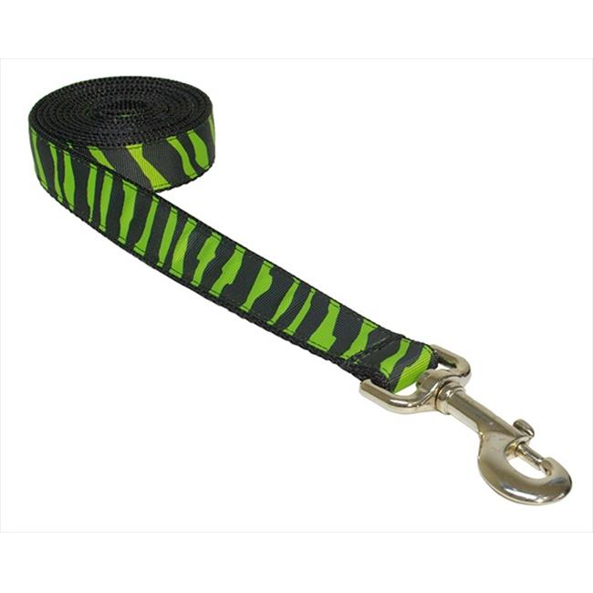 ZEBRA-GREEN-BLK.4-L 6 ft. Zebra Dog Leash, Green & Black - Large