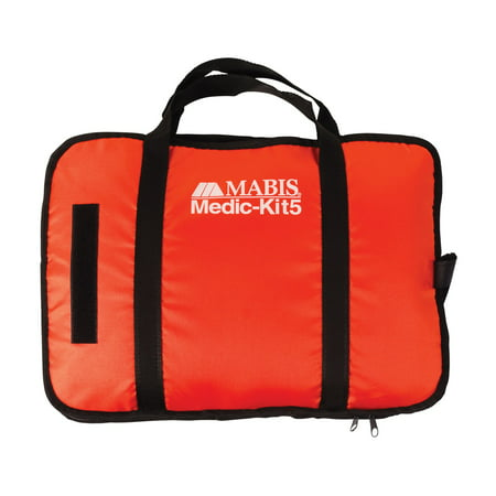 MABIS All-in-One EMT and Paramedic First Aid Kit with Aneroid Gauge, 5 Blood Pressure Cuffs, Dual Head Stethoscope, Hammer, Shears, Penlight, Tourniquets, Tape Measure and Carrying Case, Orange