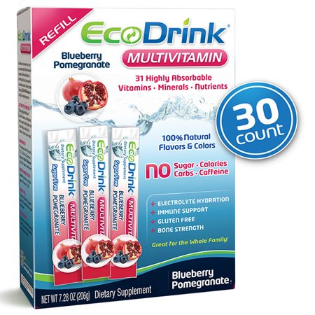 EcoDrink Daily Multivitamin Refill - Blueberry Pomegranate, 30 Packs, SGN