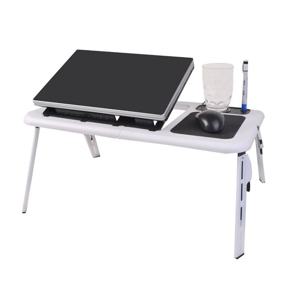 Pixnor Foldable Laptop Table Tray Desk Tablet Stand Bed Sofa Couch With Cooling Fan