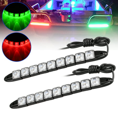 One pair Red and Green LED Strip Light Boat Bow Pontoon Kayak Yacht Navigation LED Lighting for Marine Boat Vessel IP67 Waterproof ,Each strip with 9pcs 5050 LED Chip (Led Boat Lights Waterproof)