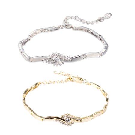 Beach Anklets Bracelets Foot Jewelry Zircon Chain Set Adjustable For Women ()