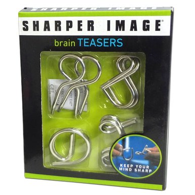 Sharper Image Wire Metal 4 Piece Teaser Twisted Puzzles Set Brain Mind Toy Gift WLM8 1004465