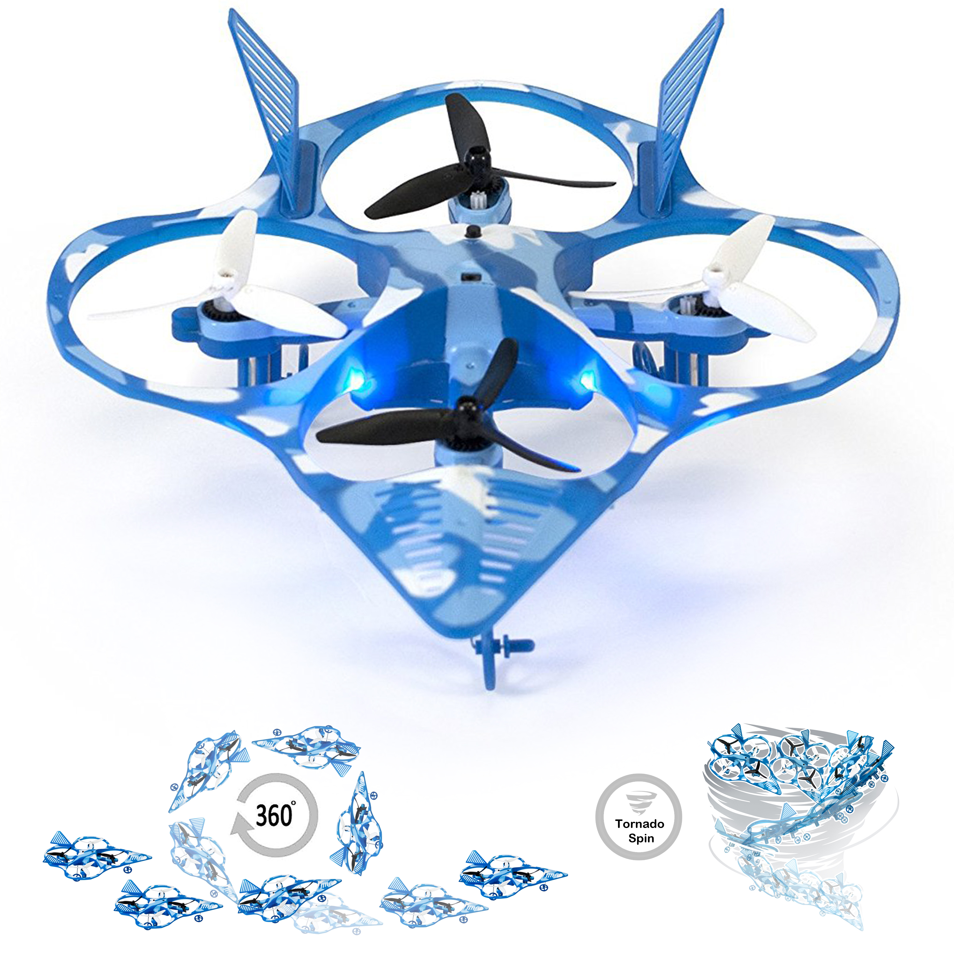 WonderChopper Tornado Stunt Drone, Fighter Jet Quadricopter - Kids Friendly, Free Runway Strip