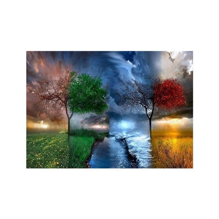 Four Seasons Scenery Tree River Patterns Printed 5D Full Rhinestone Painting for Office DIY Cross-stitch of Diamond - Cross Stitch Heart Pattern