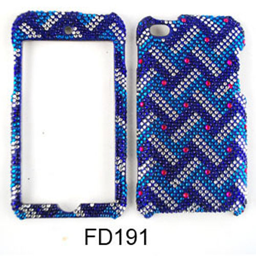 Snap-On Case for Apple iPod Touch 4 (Full Diamond Crystal Blue/White Weave Pattern)