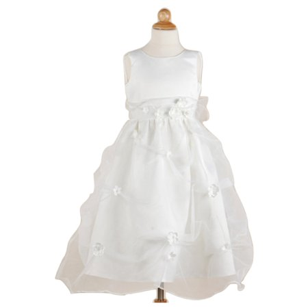 Efavormart White Organza Pick Flower Girl Dress with flowers Birthday Girl Dress Junior Flower Girl Wedding Party Gown Girls Dress - Flower Girl Dresses Organza