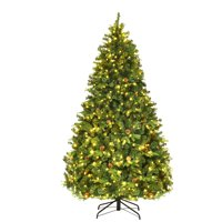 Costway 7Ft/7.5FT/8FT Pre-Lit Christmas Tree Hinged 460/540/600 Lightss