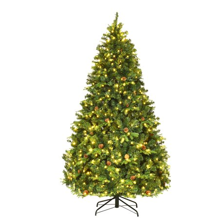 Costway 7Ft/7.5FT/8FT Pre-Lit Christmas Tree Hinged 460/540/600 Lightss ()