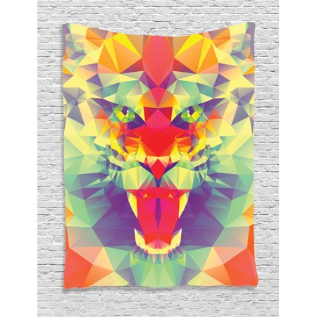 Safari Tapestry, Polygonal Lion Face with Geometric Shades and Effects Exotic King of Jungle Theme, Wall Hanging for Bedroom Living Room Dorm Decor, Multicolor, by Ambesonne
