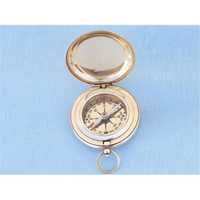 Handcrafted Model Ships CO-0601 Solid Brass Captains Push Button Compass 3 in. Compasses Decorative Accent
