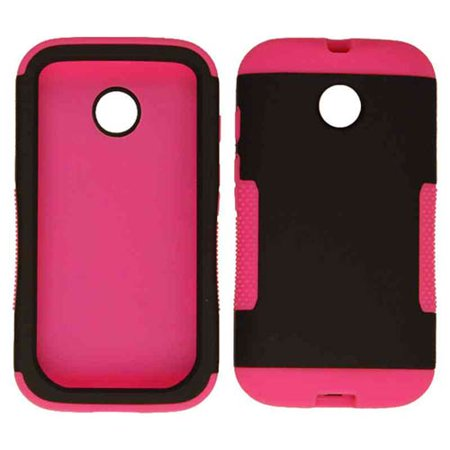 Hopper Protector Case for Motorola Moto E (Rubberized Black Snap and Magenta Skin with Stand)