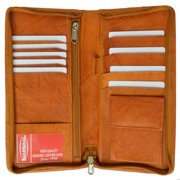 Marshal Wallet® Zip Around genuine leather Travel Wallet with Passport and Boarding pass Holder 663CF