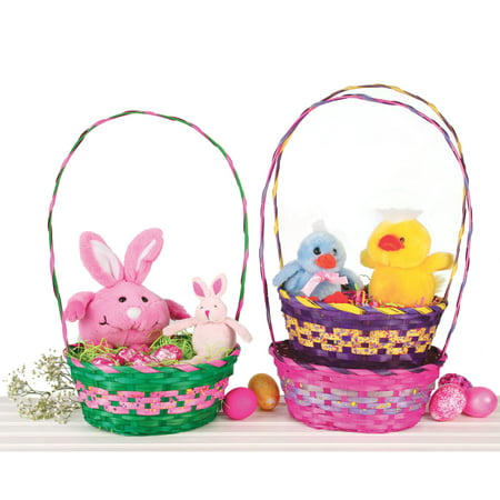 Veil Entertainment Oval Speckled Nested Easter Supply Gift Basket, 14.5