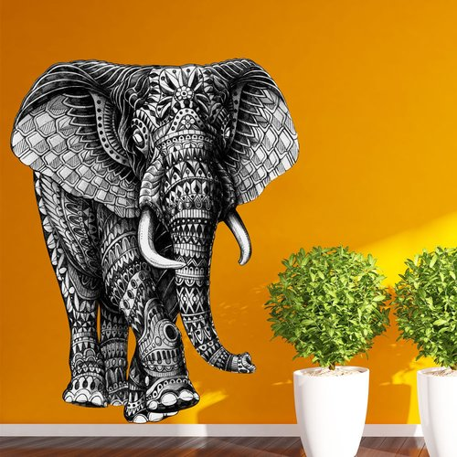 My Wonderful Walls Ornate Walking Elephant by BioWorkZ Wall Decal