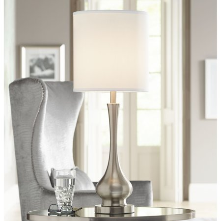 Possini Euro Design Modern Buffet Table Lamp Brushed Steel Tall Gourd White Drum Shade for Dining Room Bedroom Bedside