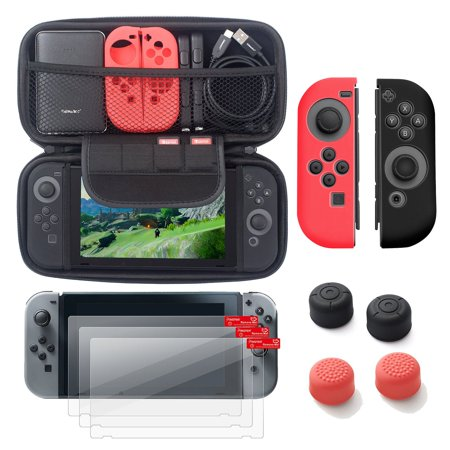 Nintendo Switch 6 Items Starter Kit  By Insten Carrying Case Hard Shell Cover   3 Pack Lcd Film   Joy Con Controller Skin  Left Red Right Black    Joy Con Thumb Grip Stick Caps For Nintendo Switch