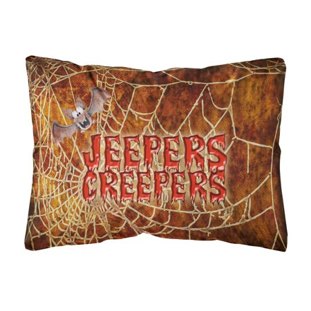 Jeepers Creepers with Bat and Spider web Halloween Canvas Fabric Decorative Pillow](Jeepers Creepers Halloween Fabric)