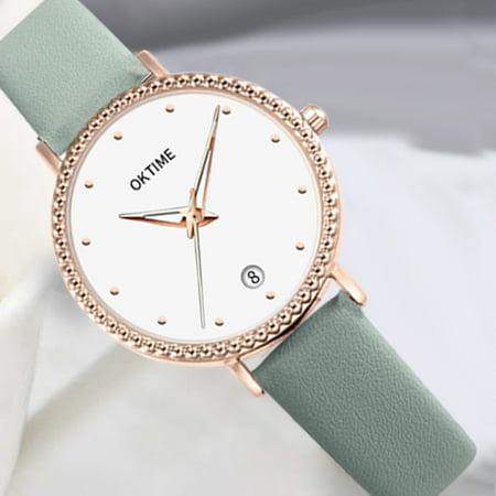 Fashion Simple Women Quartz Watch Student Calendar Alloy Case PU Leather Band Wrist Watch - image 3 de 7