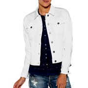 Silver Jeans Denim Jacket Womens Button Front White LJ0012SSWWHT