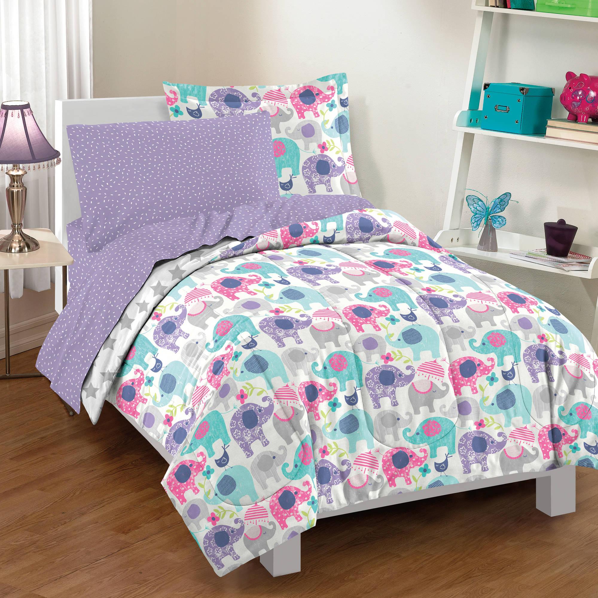 Dream Factory Elley Elephant Comforter Set, Purple