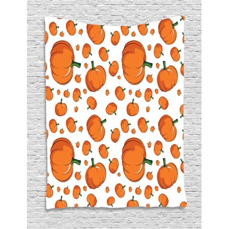 Harvest Tapestry, Halloween Inspired Pattern Vivid Cartoon Style Plump Pumpkins Vegetable, Wall Hanging for Bedroom Living Room Dorm Decor, 40W X 60L Inches, Orange Green White, by - Halloween Wall Hanging Patterns