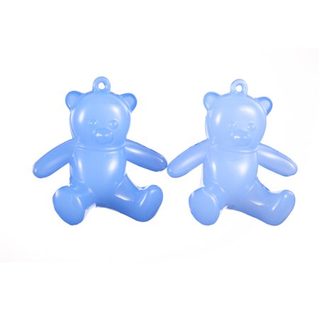 Jellies Embellishments - Teddy Bear Blue Jelly Acrylic Charms 57x62mm Sold per pkg of 113Gram/4pcs