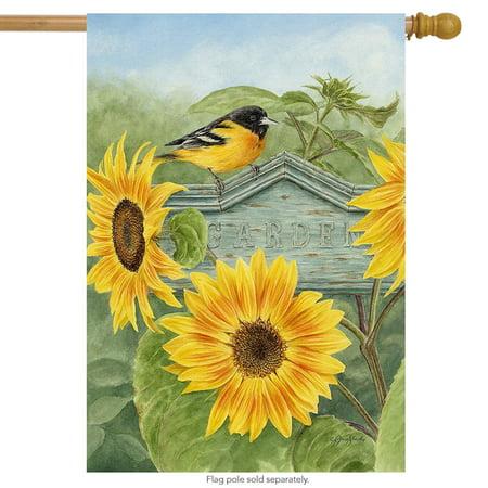 "Sunflower Summer House Flag Goldfinch Floral 28"" x 40"" Briarwood Lane"