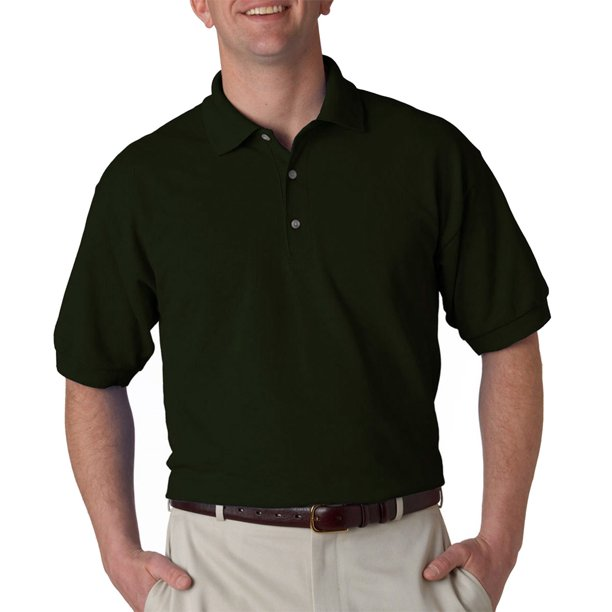 Gildan Mens 3-Button Down Short Sleeve Polo Shirt, Forest Green, 2X, Style, G3800