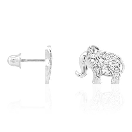 Gold Multi Color Gems (14k Yellow & White Gold Multicolor Gemstone Elephant Screwback Stud Kid Earrings)