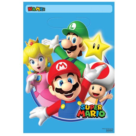Super Mario Loot Bags (8 Pack) - Party Supplies for $<!---->