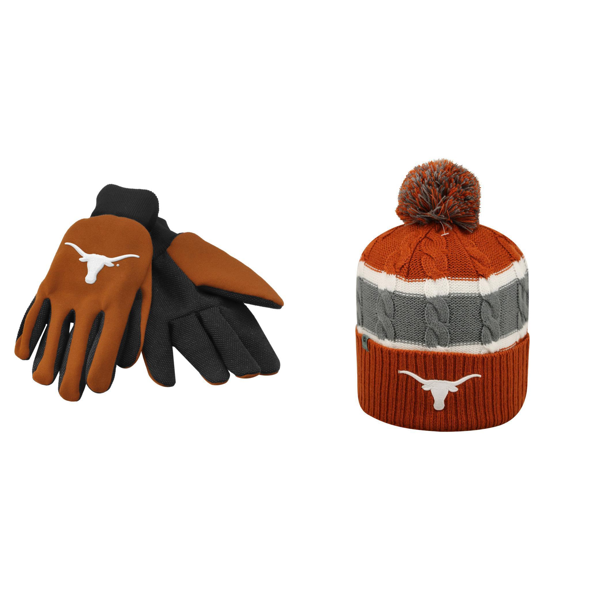NCAA Texas Longhorns Grip Work Glove And Windy Beanie Hat 2 Pack Bundle