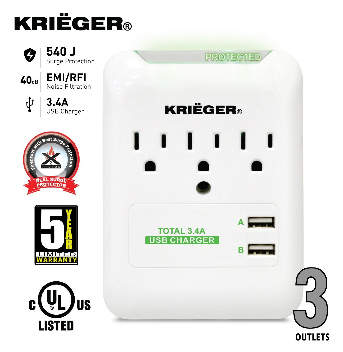 KRIEGER® UL 1449 Wall Mount 3 Outlet 540J Advanced Fireproof Surge protector with X3 MOV Technology - Dual USB Ports (3.4A max) fast charge your Iphones, android galaxy, Samsung, ipad tablet and more