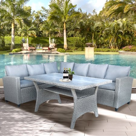 Top Knobs Patio Dining Table Set Outdoor Furniture PE Rattan Wicker Conversation Set Outdoor Sectional Sofa with Table & Soft Cushions ()