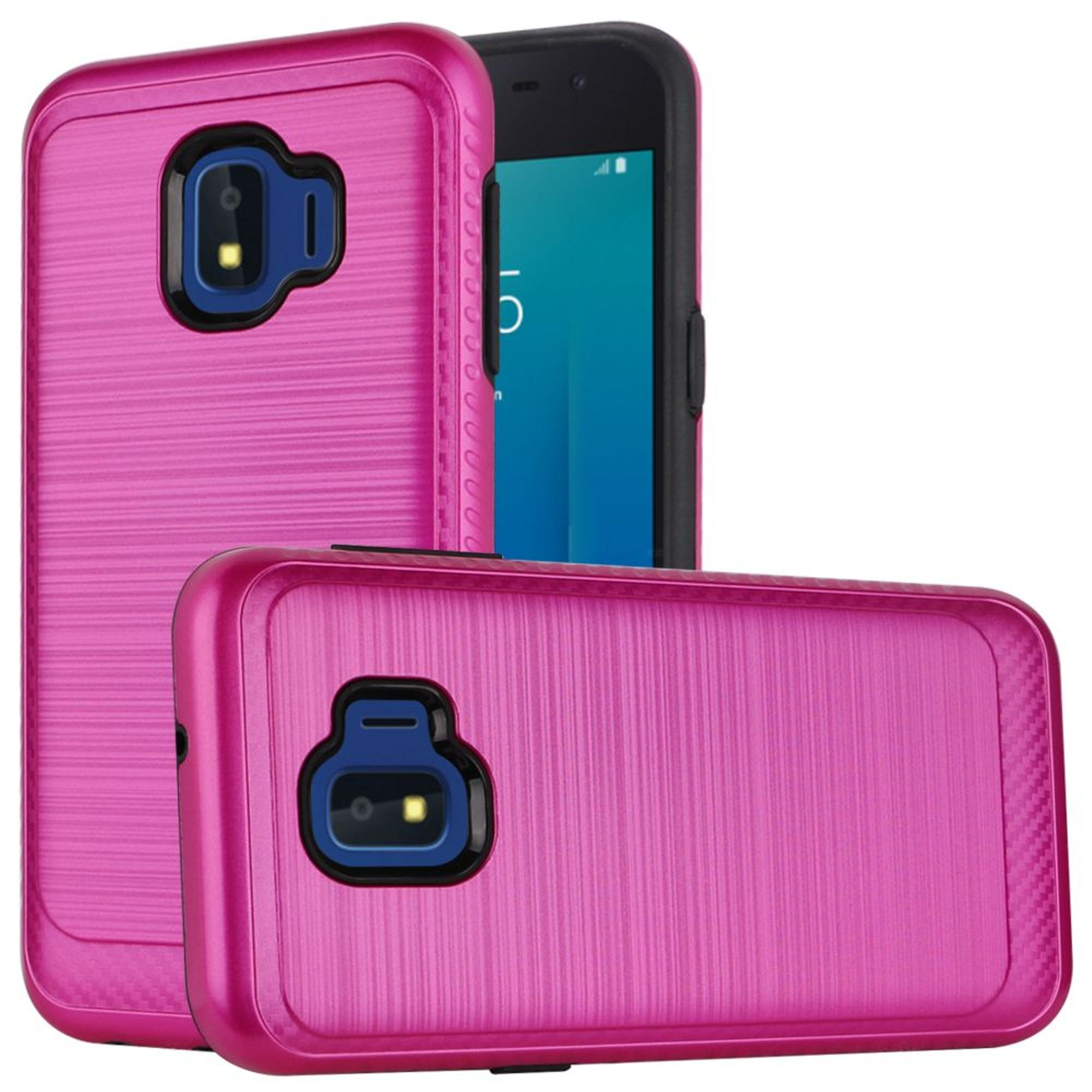 Samsung Galaxy J2 (2019) Case, by Insten Design Edged Lining Dual Layer Hybrid Brushed PC/TPU Rubber Case Cover For Samsung Galaxy J2 (2019) - Hot Pink