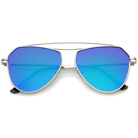 7d8894ee89f52 sunglass.la - sunglassLA - Modern Metal Frame Double Bridge Colored Mirror  Flat Lens Aviator Sunglasses 52mm - 52mm - Walmart.com