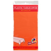 "Orange  54"" x 108"" Rectangular  Plastic Disposable Party  Tablelcoth"